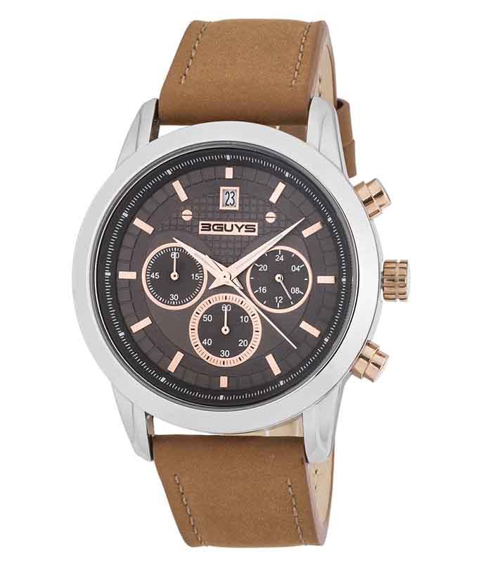 Ρολόι Χειρός 3GUYS 3G31101 Brown Leather Chronograph 3GUYS