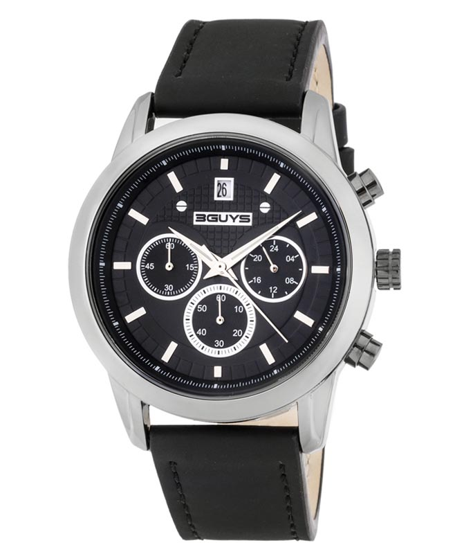 Ρολόι Χειρός 3GUYS 3G31104 Black Leather Strap Chronograph 3GUYS