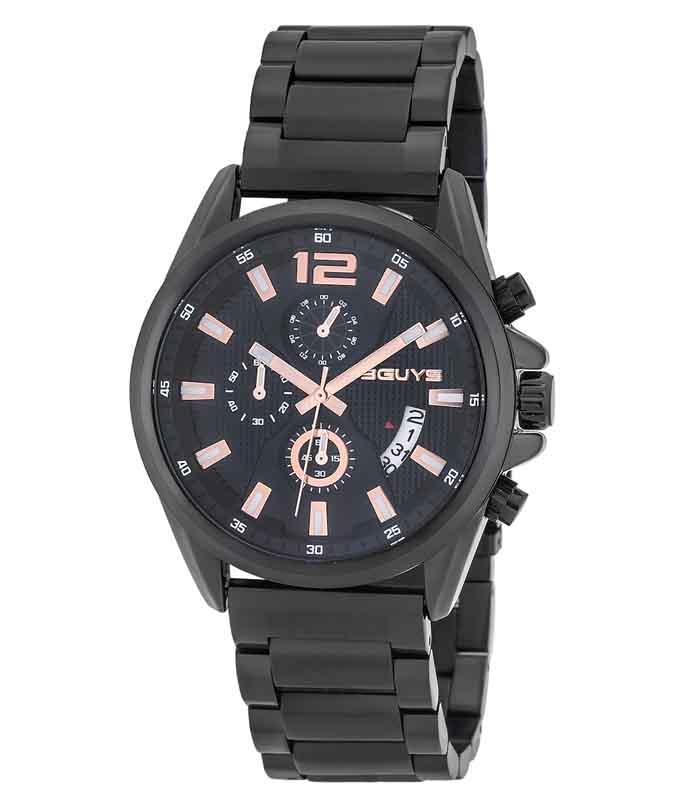 Ρολόι Χειρός 3GUYS 3G49024 Stainless Steel Black Bracelet Chronograph 3GUYS