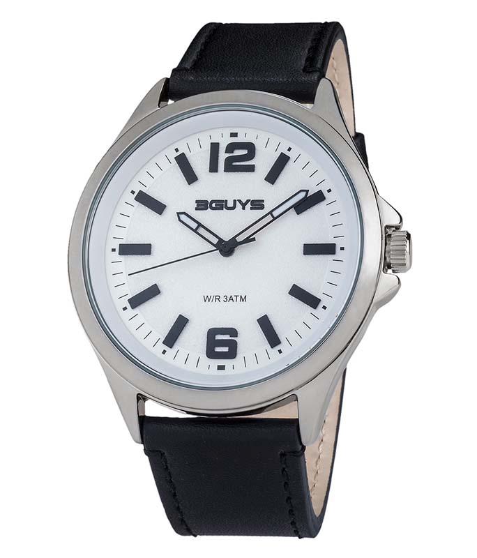 Ρολόι Χειρός 3GUYS 3G89001 Brown Leather Strap 3GUYS