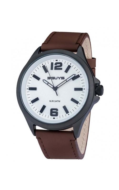 Ρολόι Χειρός 3GUYS 3G89002 Brown Leather Strap