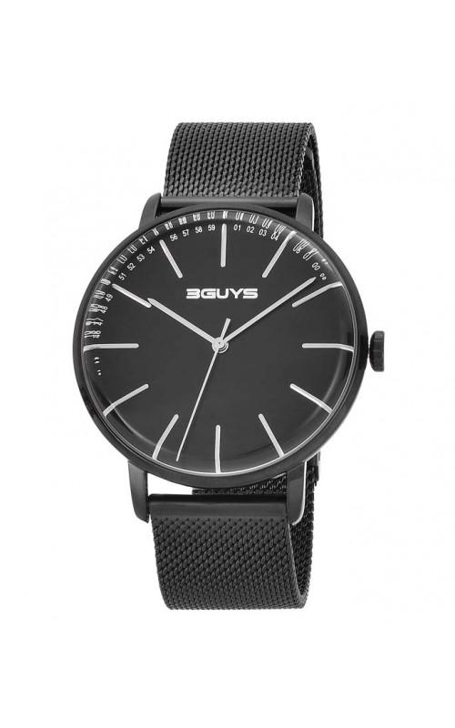 Ρολόι Χειρός 3GUYS 3G97024 Mens Black Stainless Steel   Bracelet