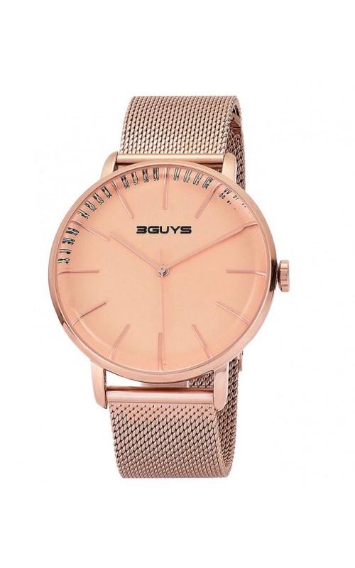 Ρολόι Χειρός 3GUYS 3G97025 Mens Rose Gold Stainless Steel Bracelet
