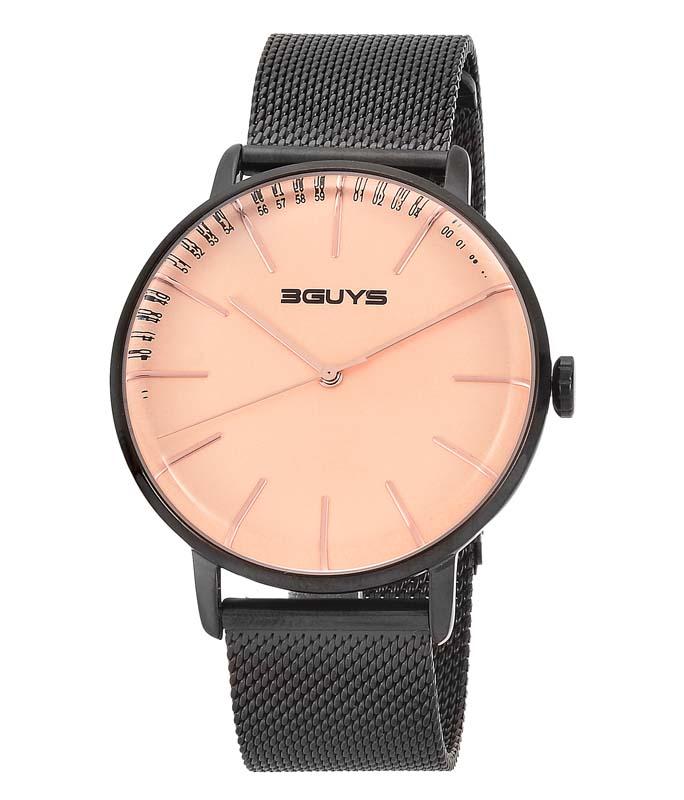 Ρολόι Χειρός 3GUYS 3G97026 Mens Black Stainless Steel Bracelet 3GUYS