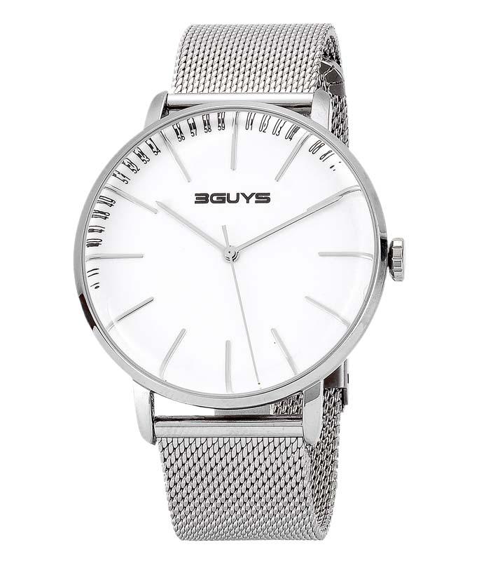 Ρολόι Χειρός 3GUYS 3G97027 Mens Silver Stainless Steel Bracelet 3GUYS