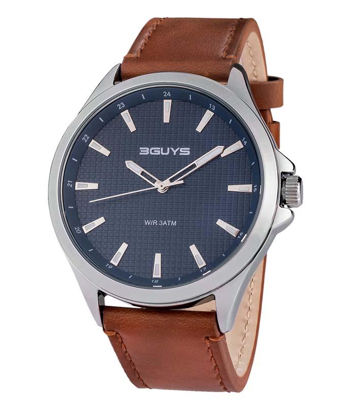 Ρολόι Χειρός 3GUYS 3G99003 Light Brown Leather Strap 3GUYS