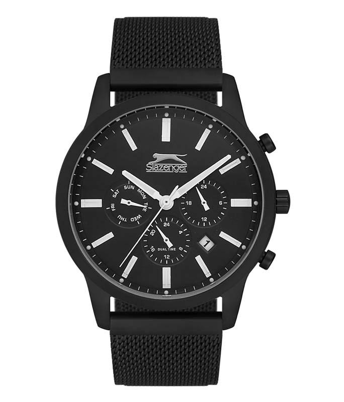 Ρολόι Χειρός SLAZENGER SL.09.6096.2.01 Gents Dual Time Black Stainless Steel Bracelet SLAZENGER