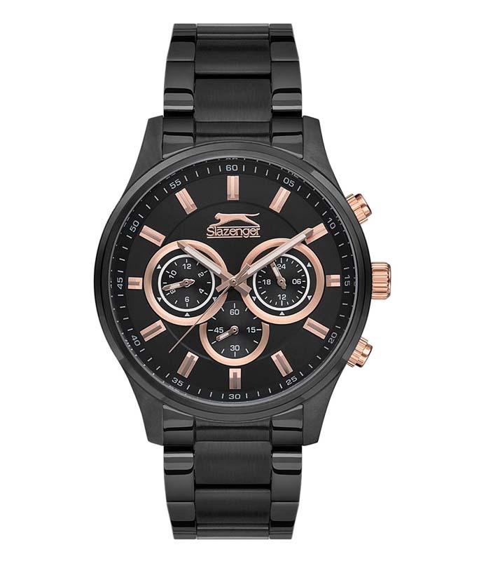 Ρολόι Χειρός SLAZENGER SL.09.6162.2.03 Gents Dual Time Black Stainless Steel Bracelet SLAZENGER