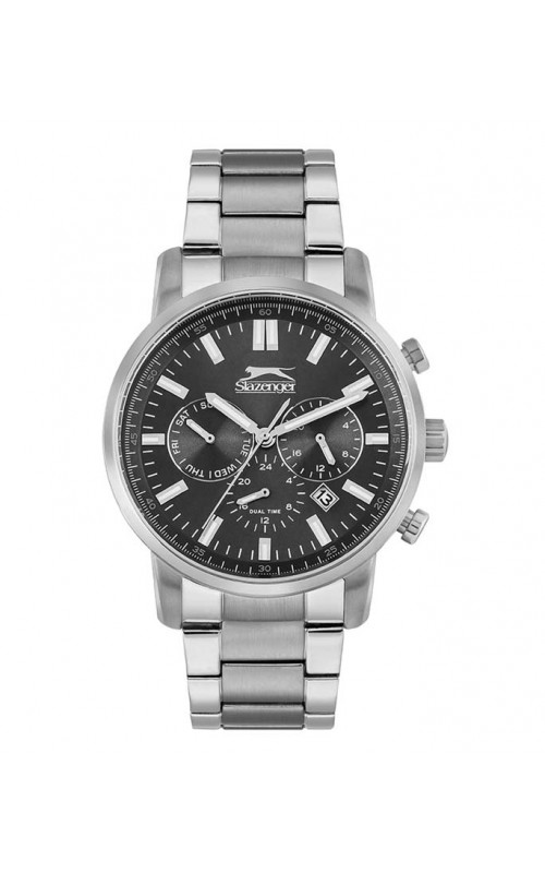 Ρολόι Χειρός SLAZENGER SL.09.6200.2.01 Gents Dual Time Silver Stainless Steel Bracelet