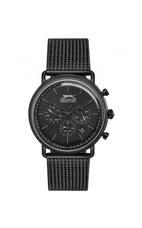 Ρολόι Χειρός SLAZENGER SL.09.6217.2.04 Gents Dual Time Black Stainless Steel Bracelet