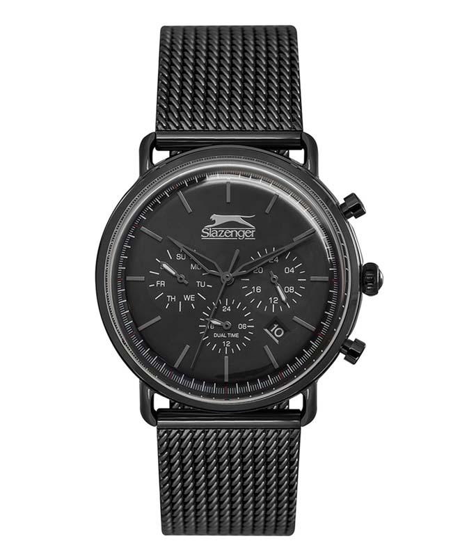 Ρολόι Χειρός SLAZENGER SL.09.6217.2.04 Gents Dual Time Black Stainless Steel Bracelet SLAZENGER